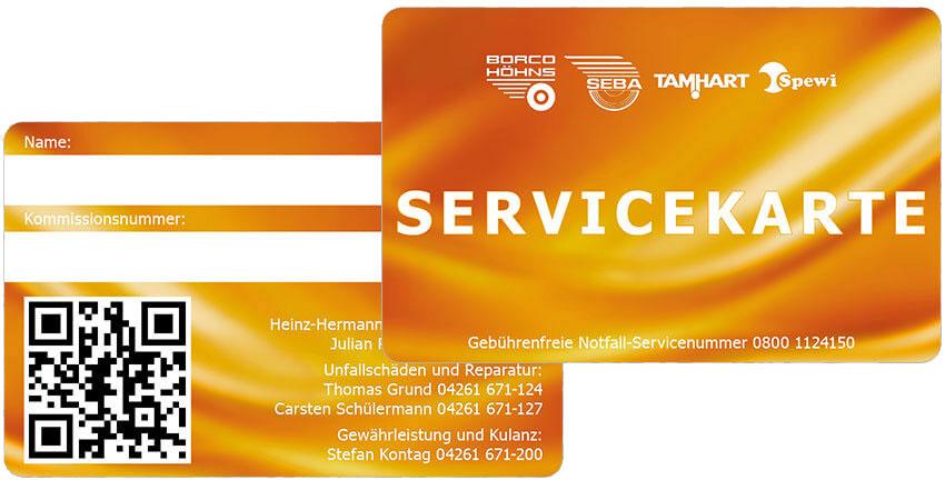 Gestaltungen für Servicekarten