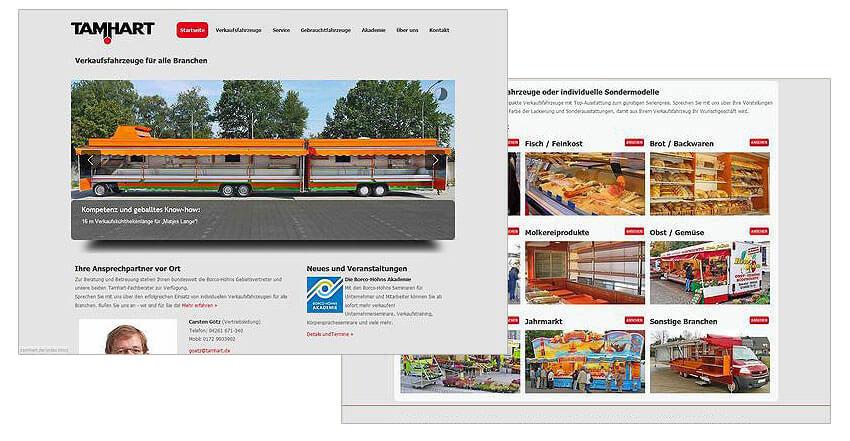 Websitegestaltung Internetweb Tamhart Verkaufsfahrzeuge
