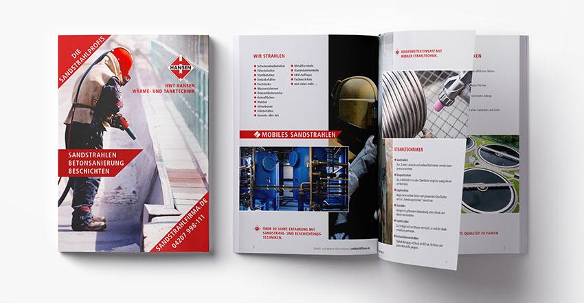 Gestaltung für Broschüre Sandstrahlen
