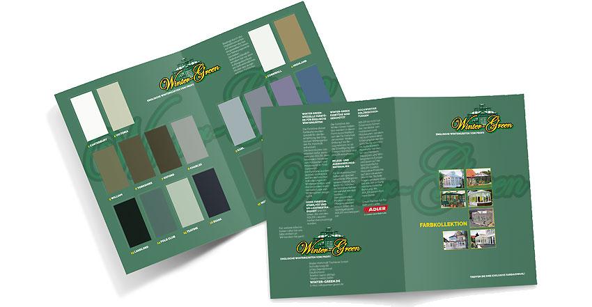 Gestaltung für Prospekt Farbenübersicht