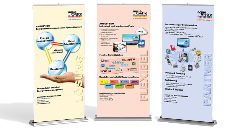 3 x Gestaltungen für Roll-ups Aquametro